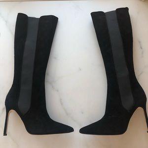 Manolo Blahnik Black Suede Knee High Boots Size 7